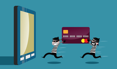 The two robbers ran the credit card theft. Through the mobile Internet. vector cartoon