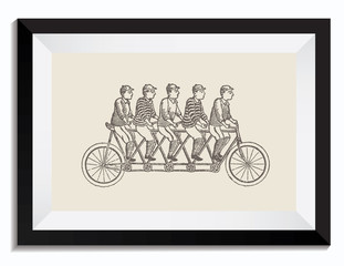 Vintage Retro Vector Drawing Illustration of a Tandem Bike with People in a Frame. Perfect for Web Design, Shirts, Scrapbooking, Logos, Badges. Great as a Graphic Ressource for Illustration Work.