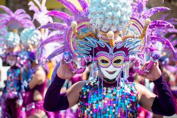 Masskara Festival street dance parade participant facing the camera Wall mural