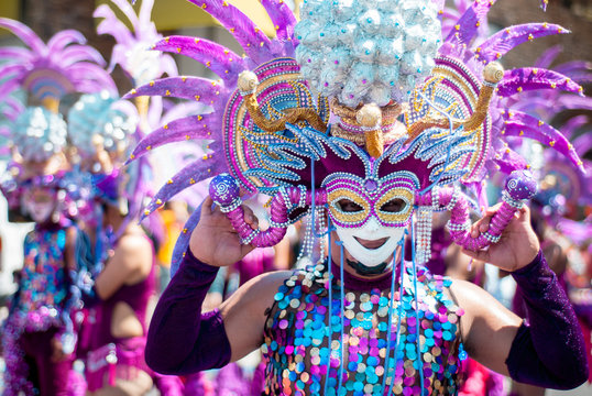 Masskara Festival street dance parade participant facing the camera