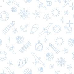 Vector flat sea design seamless pattern