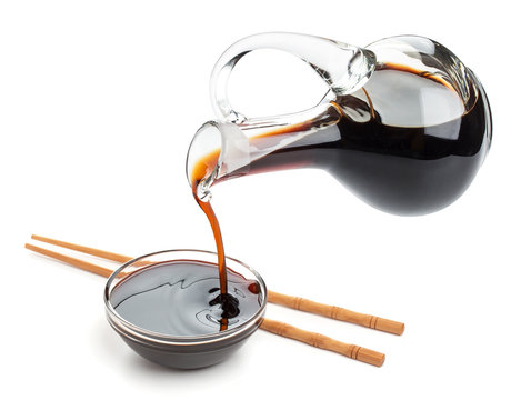 Soy sauce isolated on white