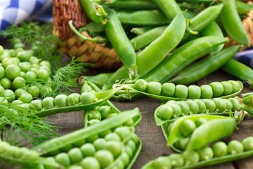 Peas pod and pea grains