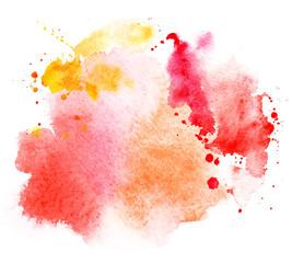 Fototapeta bright red stain splash watercolor paint. grunge illustration obraz