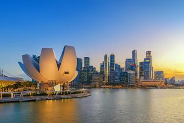 Foto op Plexiglas Singapore Singapore city skyline at night, Marina Bay, Singapore