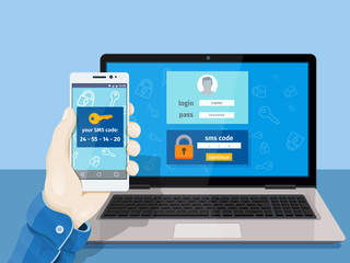 Flat man sitting at desktop and getting access to the website. 2-step authentication SMS code password concept. A man is sitting at a laptop with a mobile phone in his hand.
