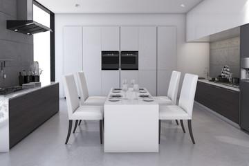 3d rendering minimal loft dining room