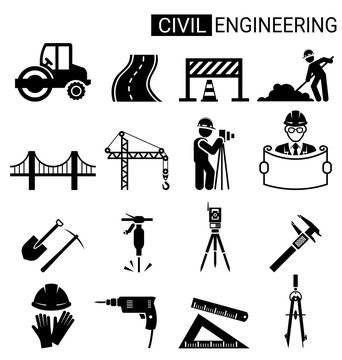 Set of civil engineering icon design for infrastructure construction
