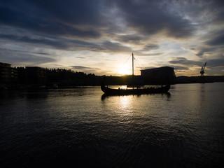 TONSBERG, NORWAY - October 9, 2013: Viking Ship in the fjord, Tonsberg, Norway