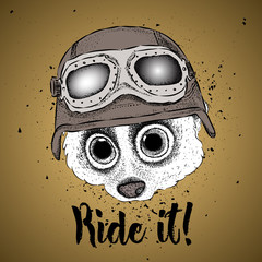 portrait of a lemur in a steampunk helmet. Vector illustration