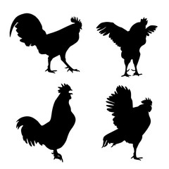 Roosters silhouette set – Stock Illustration