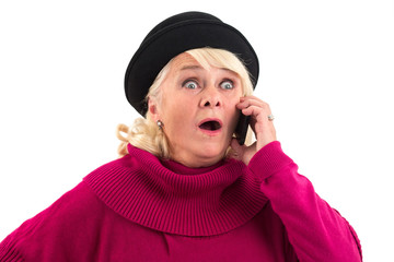 Surprised lady with cell phone. Woman with eyes wide open. Truth is shocking.