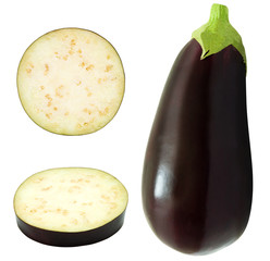 Set of fresh whole eggplant and slices. Aubergine isolated on white background.