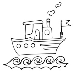 Black line ship isolated on the white background for coloring book