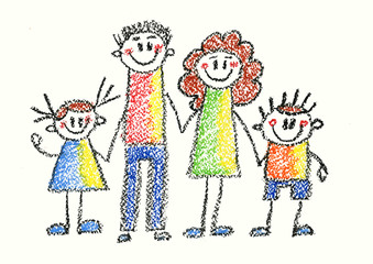 Kids drawing style Happy family Mother, father, son, daughter Happy boy and girl with parents