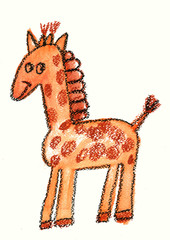 Cartoon giraffe Kids drawing Hand drawn image for kindergarten