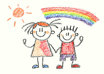 Happy boy and girl with rainbow Crayon illustration isolated on white background