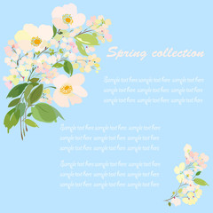 Card, banner with spring flowering branch and place for text on light blue background