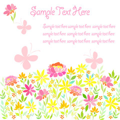 Card, banner with summer garden flowers, butterflies and a place for text.