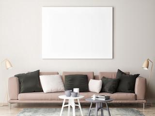 Mock up poster in loft, 3d render, 3d illustration