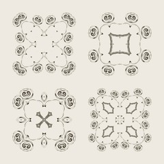 Set of decorative vintage elements. For business card, monogram, poster, logo, postcards, design. Vector illustration.