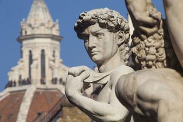Italia,Toscana,Firenze,copia del David di Michelangelo e sullo sfondo la cupola del Duomo.