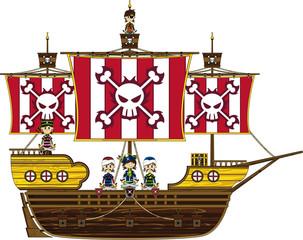 Cute Cartoon Pirate on Pirate Ship