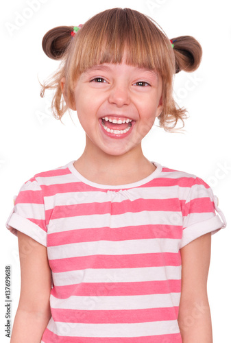 Emotional Portrait Of A 5 Years Old Girl Laughing Cute
