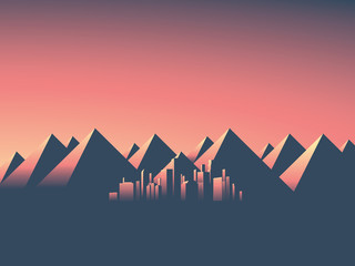 Modern cityscape with skyscrapers skyline in sunset colors. Mountain landscape background with high mountain range.
