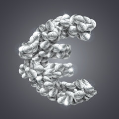 Vector euro sign made of vast amount of silver coins.