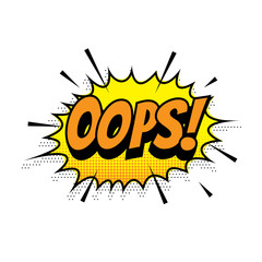 Oops comic text bubble vector isolated color icon