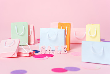 shopping, sale theme on pink background