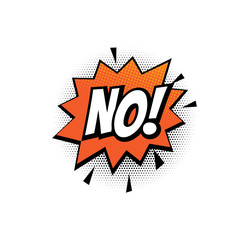 No comic text bubble vector isolated color icon