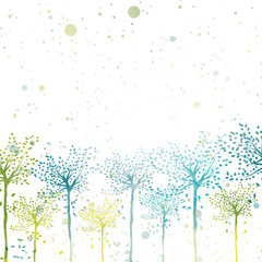 Vector spring trees bright sunny background