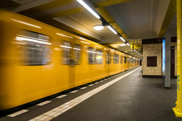 Berlin Subway metro underground - Yellow Train moving - nobody background