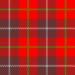 seamless Plaid fabric texture cells with stripes Scotland pattern red