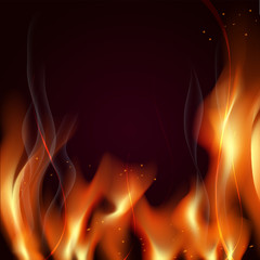 great realistic vector fire flames smoke sparks on red background