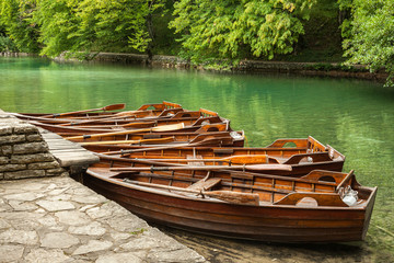 Boats in the national park Plitvice. Croatia