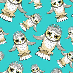 seamless pattern howlet bird with raised wings.  illustration
