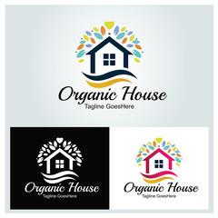 Organic house logo design template. Home care logo. Vector illustration