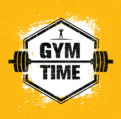 Gym Time Workout and Fitness Design Element Concept. Creative Vector On Grunge Background