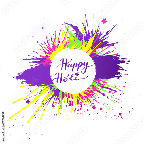 Bright And Colorful Happy Holi Banner With Vivid Paint Splashes On