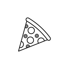 Pizza slice line icon, food & drink elements, Italian food sign, a linear pattern on a white background, eps 10.
