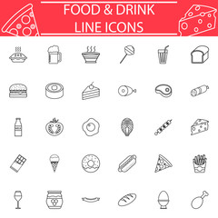 Food and drink line pictograms package, Sweets symbols collection, fast food vector sketches, logo illustrations, meals line icon set isolated on white background, eps 10.