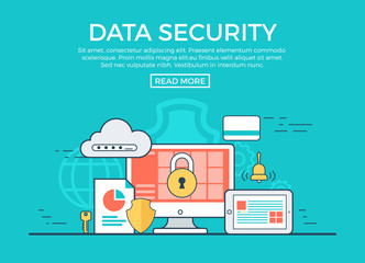 Linear flat Data Security infographics vector. App software.