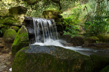 Mountain creek with fresh green moss on the stones, long exposure for soft water look