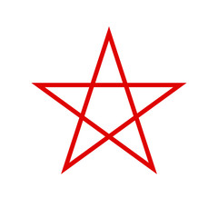 Pentagram icon. Red star. Vector.