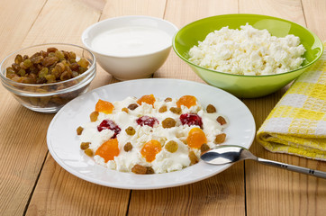 Plate with cottage cheese, yogurt, raisins and different jams