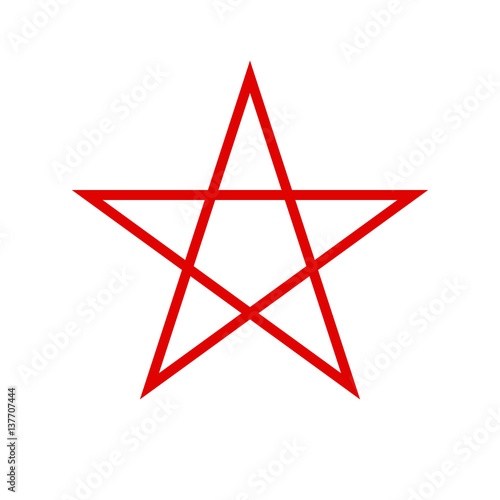 Pentagram Icon Red Star Vector Stock Image And Royalty Free
