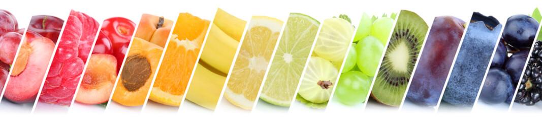 Poster Vruchten Früchte Frucht Obst Gruppe Sammlung Orange Beeren Bananen